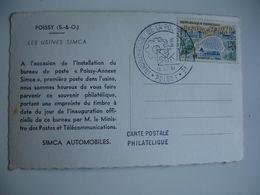 Usine Voiture Simca Inauguration Poste Annexe Obliteration - 1961-....