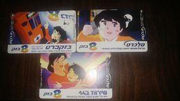 Israel-(bz-328-330)-bezeq Services-(3cards)-tirage-300.000-used+3prepiad/gift Free - Israel