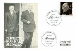 Thème Général De Gaulle - FDC Allemagne - Avec Konrad Adenauer - R 5910 - De Gaulle (Generaal)