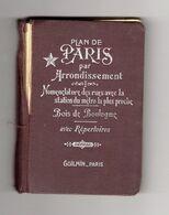 PLAN DE PARIS Par ARRONDISSEMENT BOIS DE BOULOGNE METROPOLITAIN Avec REPERTOIRE Début 20ème - Maps/Atlas