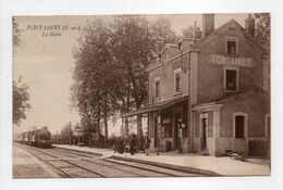 - CPA FONTAINES (71) - La Gare 1928 (avec Personnages) - Edition BOURGEOIS - - France