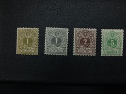 Timbre Neuf De Belgique – COB 42/45 – Lion Couché Avec Chiffre – 1884-1888 - 1869-1888 Lying Lion