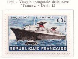 """PIA - FRA - 1962 :  Viaggio Inaugurale Della Nave """"France"""" - (Yv  1325) - Francia"""