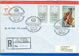 CANADA Registered Cover With Olympic Label Kingston And Olympic Cancels Special Olympic Registered Cancel On Backside - Summer 1976: Montreal