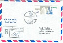 CANADA Registered Cover With Olympic Label Lieu Venue 10 With Olympic Cancel Joliette On Olympic Stamp - Summer 1976: Montreal