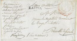 1823 - CORSE - LETTRE MILITAIRE De BASTIA  MARQUE LINEAIRE 25x10+CACHET COLONEL GENDARMERIE ROYALE Du GOLO ! => PRUNELLI - Bolli Militari (ante 1900)