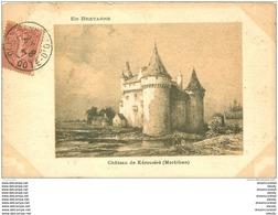 56 SIBIRIL. Château De Kérouzéré 1905. Papier Velin Style Parchemin Bords Dentelés à La Ficelle - France