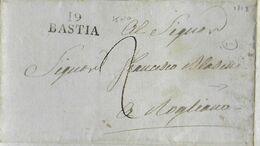 1818 - CORSE - LETTRE SC De BASTIA - MARQUE LINEAIRE 25x10 (PREMIERE ANNEE D'UTILISATION !) => ROGLIANO - 1801-1848: Precursori XIX
