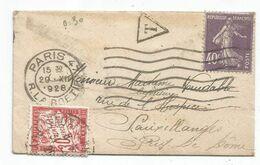SEMEUSE 40C VIOLET SEUL MIGNONNETTE PARIS 47 29.XII.1928 POUR SAINT MANDE TAXE 30C - Marcophilie (Lettres)