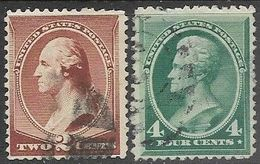 US  1883  Sc#210-1 2c 4c  Used  2016 Scott Value $28.25 - 1847-99 General Issues