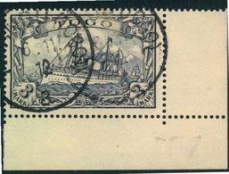 """1900, 3 Mark Kaiseryacht Aus Der Rechten Unteren Bogenecke Mit FALSCHSTEMPEL """"KPANDU (TOGO)"""" Geprüft - Colonie: Togo"""