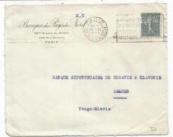 N°161 PERORE BPN LETTRE BANQUE DES PAYS DU NORD PARIS 20.II.1924 TO ZAGREB YOUGOSLAVIE - Frankreich