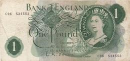Bank Of England : 1 Pound (mauvais état) - 1 Pound