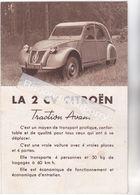 AUTOMOBILE - 2 CV CITROEN - Beau Petit Dépliant Publicitaire Avec Vues Diverses Intérieures, Extérieures, De La 2 CV - Publicités
