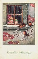 Bertiglia Children Watching Redbreasts In The Snow - Bertiglia, A.