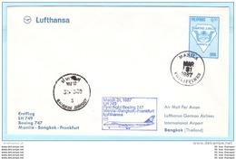 PHILIPPINEN PHILIPPINES Brief Cover Lettre 1780 I - Religion YMCA - FFC LH 749 - 31.03.87 Manila Bangkok FFM (30121) - Philippines