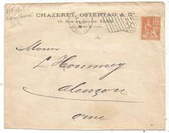 N° 117 PERFORE CS CHAZERET OSTERTAG LETTRE MECANIQUE  DRAPEAU INVERSE PARIS DEPART 1901 RARE - France