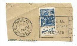 JEANNE D'ARC 50C PUB LA VACHE QUI RIT PARIS 1932 FRAGMENT - Marcophilie (Timbres Détachés)