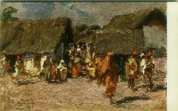 SOMALIA ITALIANA - COLONIE - UN VICOLO DEL VILLAGGIO AMARUIN - SIGNED L. AJMONE - 1920s ( BG8665 ) - Somalia