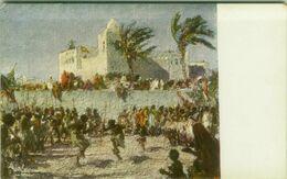 SOMALIA ITALIANA - COLONIE FANTASIA VISTA DAI GIARDINI DEL GOVERNATORE A MOGADISCIO  SIGNED L. AJMONE - 1920s ( BG8666) - Somalia