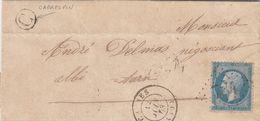 LETTRE. 12 JUIN 63. N° 22. CAUNES. AUDE. GC 784. BOITE RURALE C = CABRESPIN. POUR ALBI        /  2 - 1849-1876: Klassik