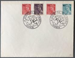 France N°657 à 660 Sur Enveloppe Commémorative Journée Du Timbre NIMES 9 DEC. 44 - (C1180) - Poststempel (Briefe)
