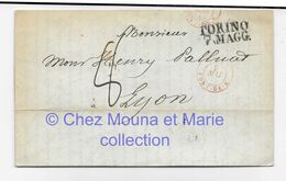 MILAN MAI 1845 MARTORELLI A PALLUAT LYON MARQUE LINEAIRE TORINO 7 MAGG TAXE 8 CAD ROUGE - Machine Stamps (ATM)