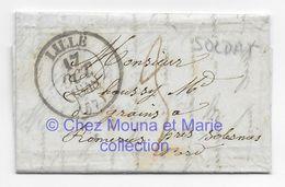 LILLE 1848 DHAUSSY BENOIT SOLDAT 26 REGIMENT DE LIGNE HOPITAL - A SON PERE MARCHAND DE GRAINS A ROMERIES NORD - LAC - Marcophilie (Lettres)