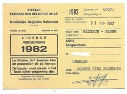 ANCIENNE LICENCE FEDERATION BELGE DE BOXE, CLUB MODERN RING NAMUROIS, HAINAUT BELGIQUE, 1982 - Boxe