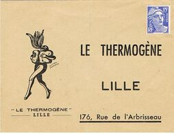 ENVELOPPE ILLUSTREE LE THERMOGENE LILLE PLIEE NON CIRCULE - 1921-1960: Modern Tijdperk