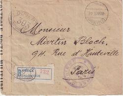"""GRECE : REC . DE """" SALONIQUE """" . CENSUREE . DE L'ARMEE D'ORIENT . POUR PARIS . 1916 . - Storia Postale"""