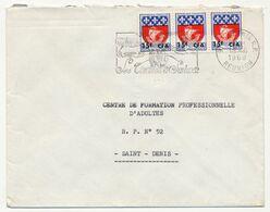 REUNION - Enveloppe Affr 15F/30 Blason De Paris X3 (Bande) - OMEC St Denis RP - 1968 - Reunion Island (1852-1975)