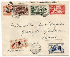 INDOCHINE --1937--Lettre Recommandée De SAIGON Pour Grenade / Adour-40 (France)..composition De Timbres - Indochine (1889-1945)