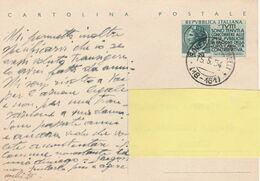 Italia, Intero Postale 1954 - Pro Erario Viaggiata - Entiers Postaux