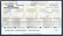 Cheque Do Banco Totta & Açores, Em Escudos, Estoril. Fundo Do Cheque, Edifício Sede Do BTA, Rua Do Ouro, Lisboa. Leões - Cheques & Traveler's Cheques