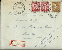 Doc. De LEVAL - TRAHEGNIES - B B - Du 05/04/57 En Rec. ( E ) - Postmark Collection