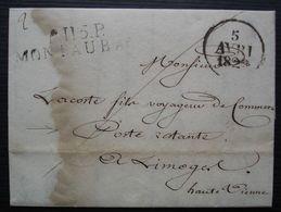 Montauban 1829 Port Payé P.115.P Sur Lettre En Poste Restante Pour Limoges - Marcophilie (Lettres)