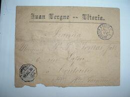 LETTRE Pour La FRANCE TP 25c OBL. HEXAGONALE 12 JUL 86 AVADESO / ..RTE + JUAN VERGE VITORIA + Ambulant BORDEAUX A CETTE - 1875-1882 Royaume: Alphonse XII