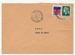 REUNION - Enveloppe Affr 15F/0,30 Marianne Cheffer + 10F/0.20 Blason St Lo - St Louis Réunion - 29/1/1973 - Reunion Island (1852-1975)