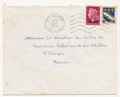 REUNION - Enveloppe Affr 20F/0,40 Marianne Cheffer + 5F/0,10 Blason Troyes - OMEC Le Port Réunion 1971 - Reunion Island (1852-1975)