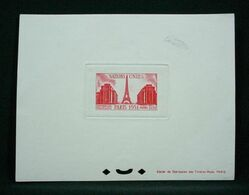 FRANCE 1951 - ONU & Tour Eiffel - 18f Rouge , Yvert#911  - Epreuve De Luxe - RARE ! - Prueba De Artistas