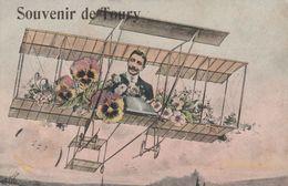 CPA (28) Souvenir De TOURY Surréalisme Homme Sur Un Avion Aviation Fly Fleur Pensées Fantaisie (2 Scans) - Autres Communes