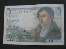 5 Francs  BERGER  30=10=1947   **** EN ACHAT IMMEDIAT ****   BILLET  SUP ++ - 5 F 1943-1947 ''Berger''