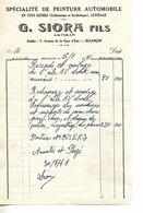 Facture 1/2 Format 1941 / 25 BESANCON / G. SIORA / Spécialité Peinture Automobile - France