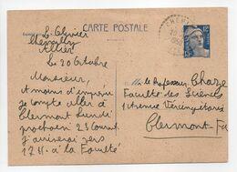 - CARTE POSTALE CHEMILLY (Allier) Pour CLERMONT-FERRAND 20.10.1950 - 12 F. Bleu Type Marianne De Gandon - - Ganzsachen