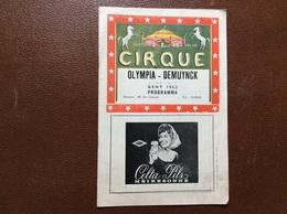PROGRAMME CIRQUE  CIRQUE OLYMPIA-DEMUYNCK  Programme 1962  BELGIQUE - Programmes