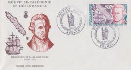 Enveloppe  FDC  1er Jour   NOUVELLE CALEDONIE    COOK    200éme  Anniversaire   Découverte  De  La  GRANDE  TERRE   1974 - FDC