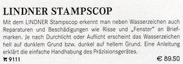 Prüfen Von WZ STAMPSCOP Neu 90€ Wasserzeichen-Sucher Für Briefmarken Check Of Stamps Paper Wmkd. LINDNER Offer 9111 - Autres