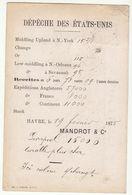 """Seine Inférieure, CP Repiquée """"Dépèche Des Etats Unis/ N°55/GC + T17 Le Hâvre -> Lille 1875 - 1849-1876: Période Classique"""