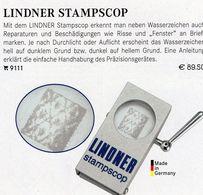 LINDNER WZ-Prüfen Mit STAMPSCOP New 90€ Wasserzeichen-Sucher Für Briefmarken Check Of Stamps Paper Wmkd. Offer 9111 - Matériel